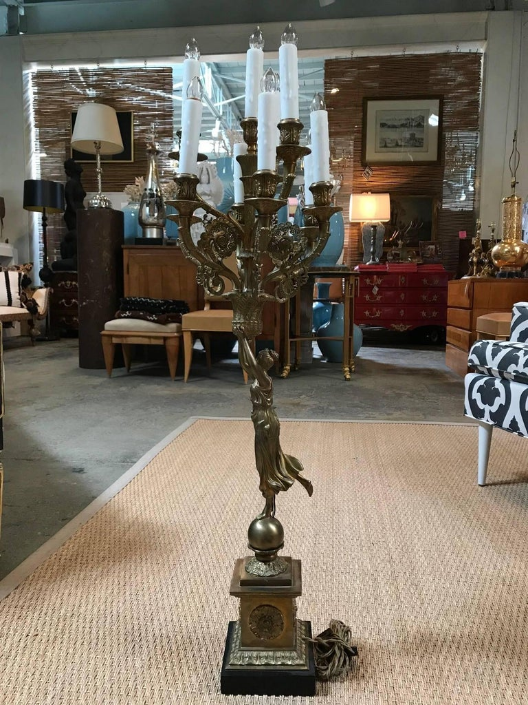 All-Bronze Grecian Woman Candelabra In Excellent Condition For Sale In Dallas, TX