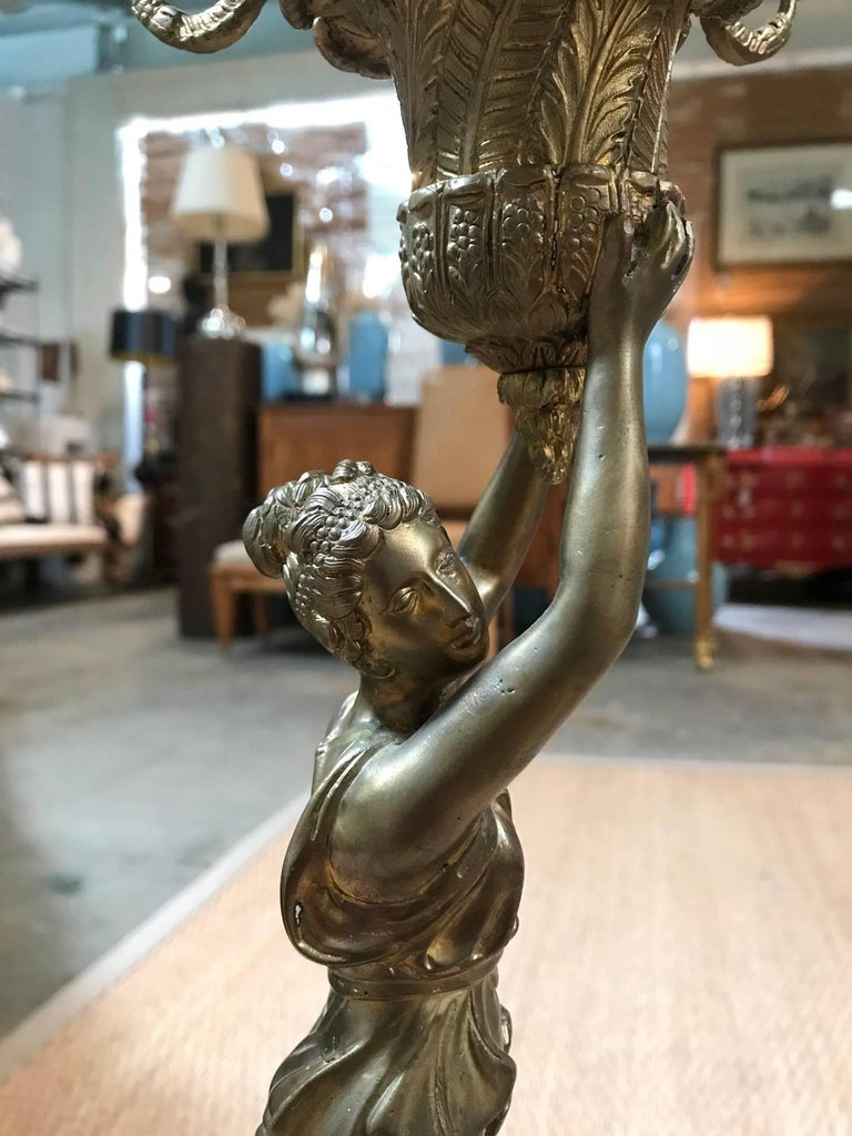 All-Bronze Grecian Woman Candelabra For Sale 2
