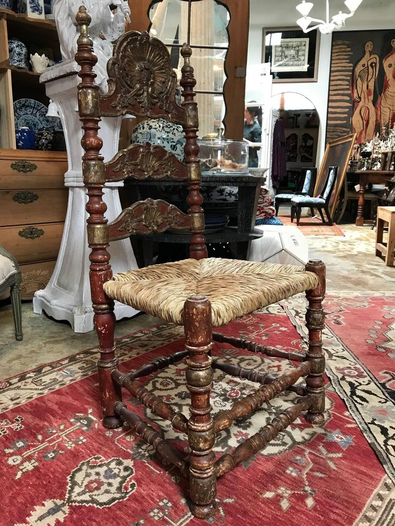 Turned 19th Century Painted Spanish Baroque Side Chairs, Set of Four For Sale