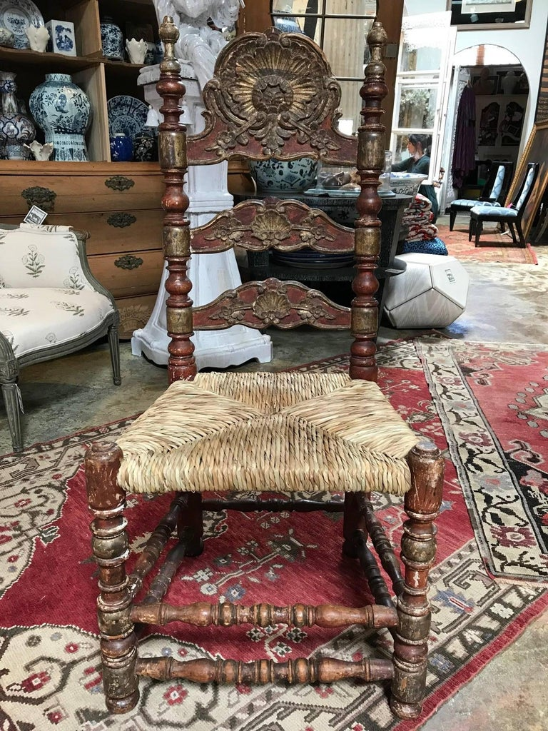 These Classic beauties are 19th century painted Spanish Baroque side chairs with rush seats. They have minor losses consistent with age and use. Not the most structurally sound pieces but they are in original, un-restored country house condition.
