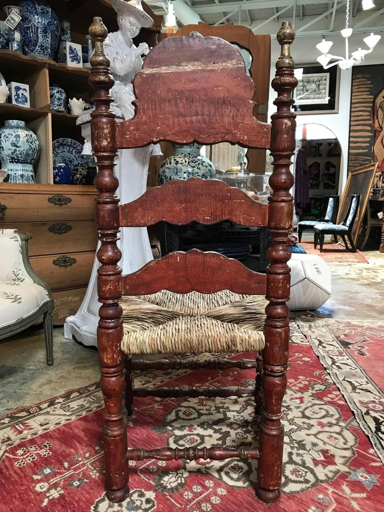 19th Century Painted Spanish Baroque Side Chairs, Set of Four In Good Condition For Sale In Dallas, TX
