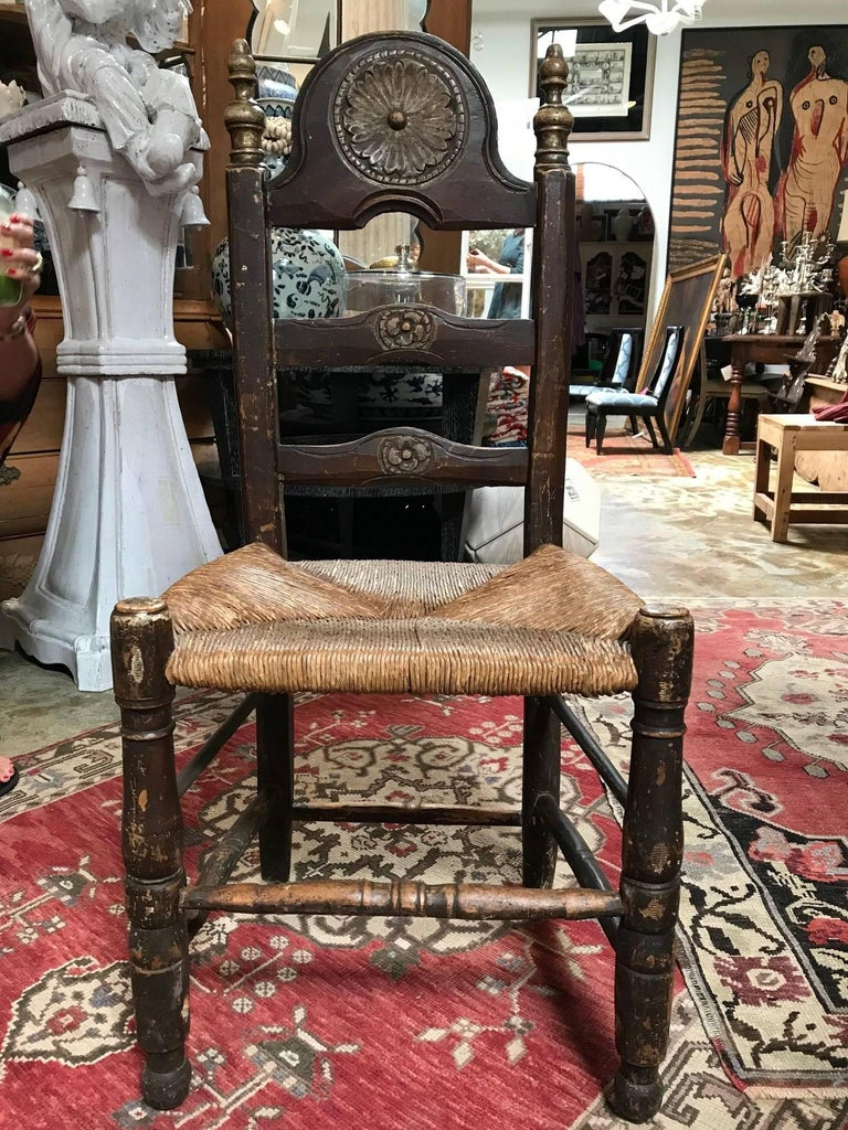 19th Century Painted Spanish Baroque Side Chairs, Set of Four For Sale 1