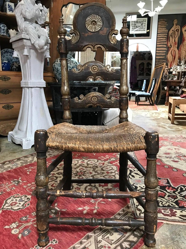 19th Century Painted Spanish Baroque Side Chairs, Set of Four For Sale 5
