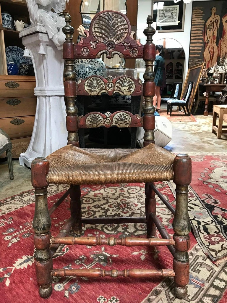 19th Century Painted Spanish Baroque Side Chairs, Set of Four For Sale 9