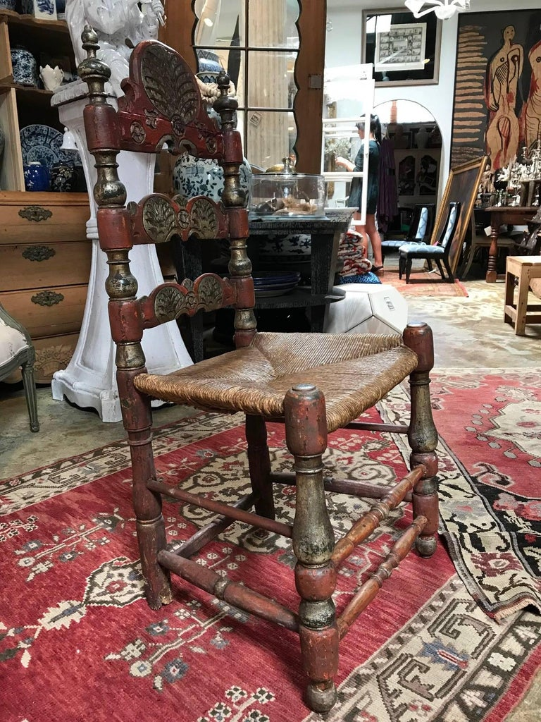 19th Century Painted Spanish Baroque Side Chairs, Set of Four For Sale 10