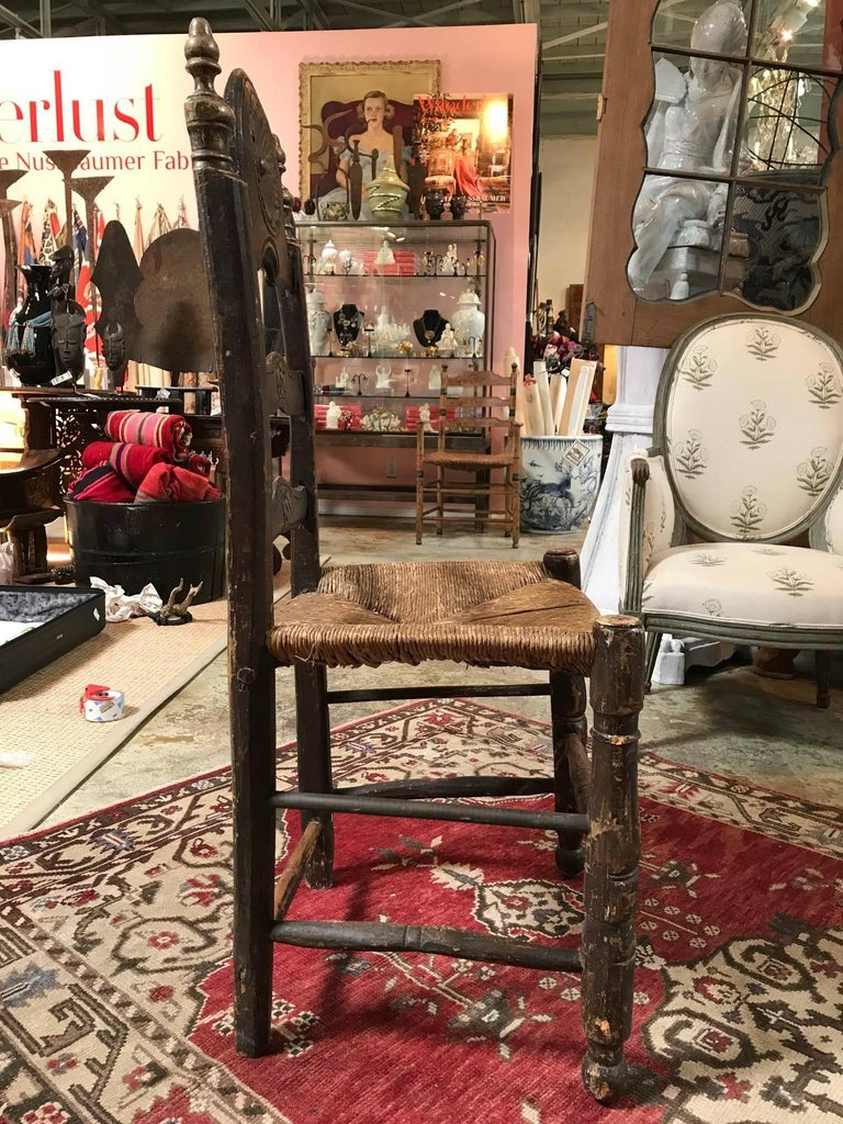 19th Century Painted Spanish Baroque Side Chairs, Set of Four For Sale 3