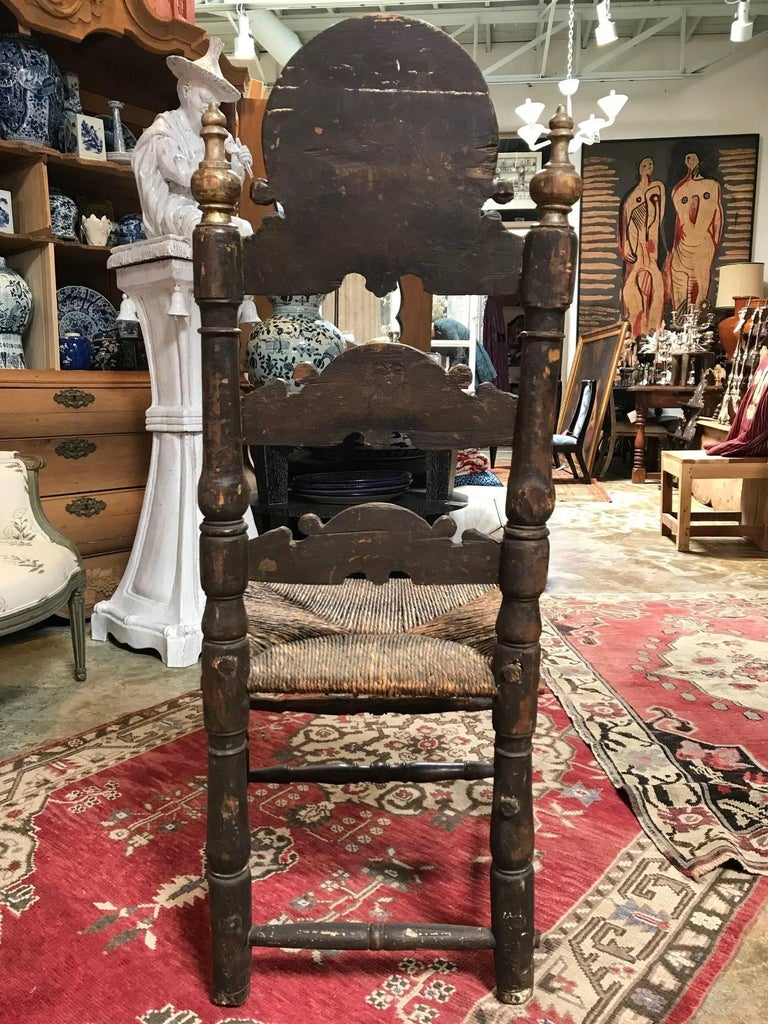 19th Century Painted Spanish Baroque Side Chairs, Set of Four For Sale 8