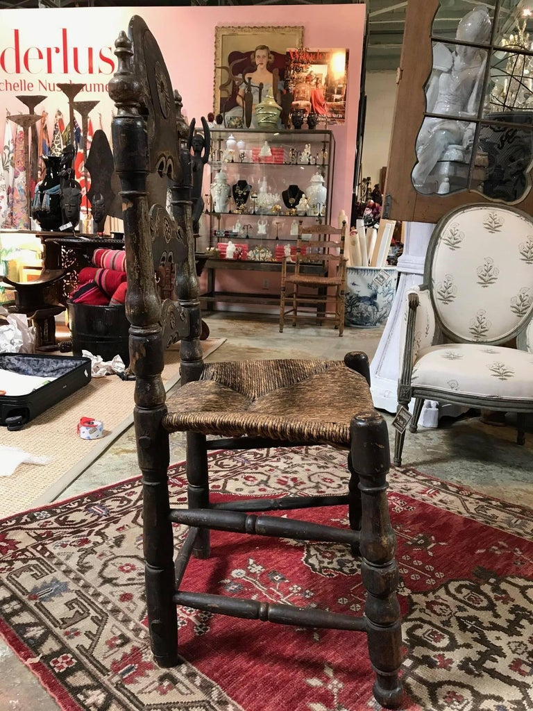 19th Century Painted Spanish Baroque Side Chairs, Set of Four For Sale 7