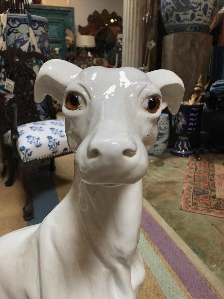 Lifesize 1940s Italian Ceramic Greyhound For Sale 3