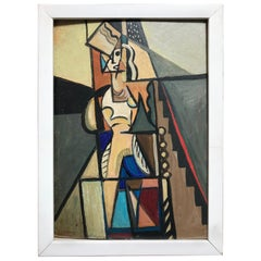 1940s French Cubist Oil Painting on Cardboard