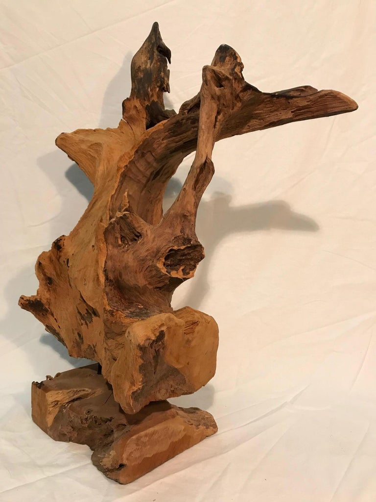 Late 20th Century Pair of 1970s Era Steel Rod Mounted Driftwood Sculptures For Sale