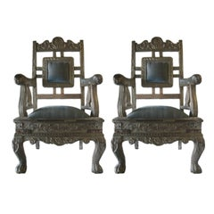Indian Raj Chairs with Silver Repousse Overlay