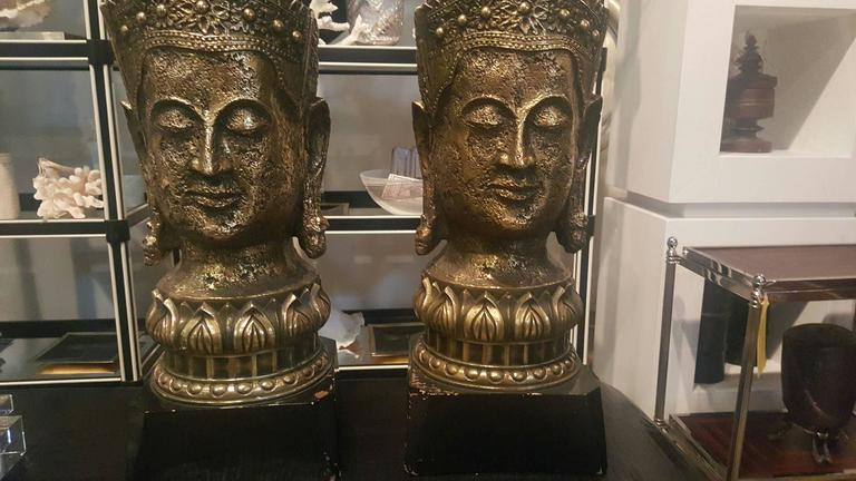 1940s Resin and Wood Buddha Lamps 3