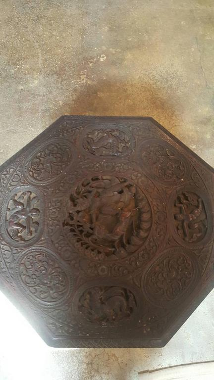 Indo-Chinese 19th Century Carved Table In Good Condition For Sale In Dallas, TX