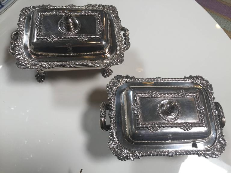 Georgian style pair of 19th century sterling silver serving pieces.