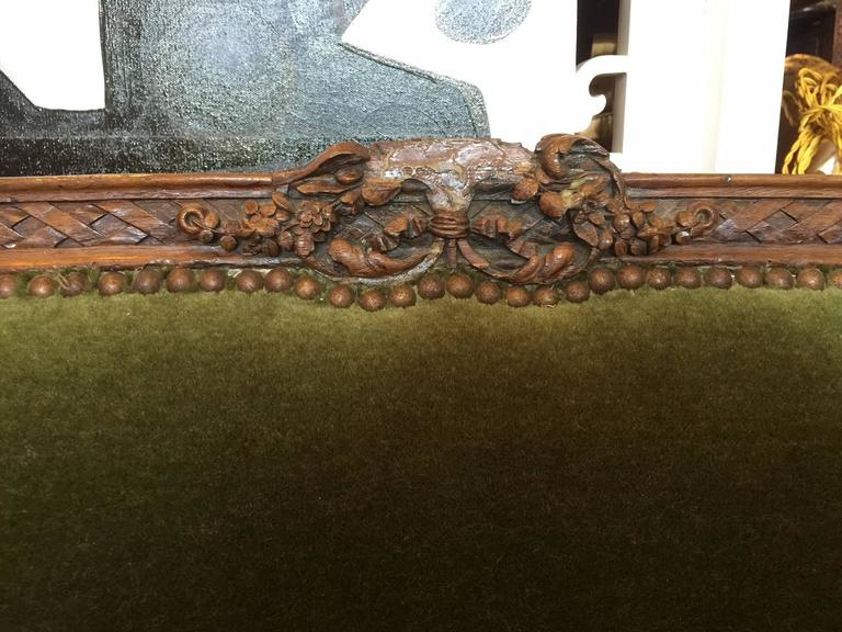 Stained 19th Century Irish Mohair Sofa in Green For Sale