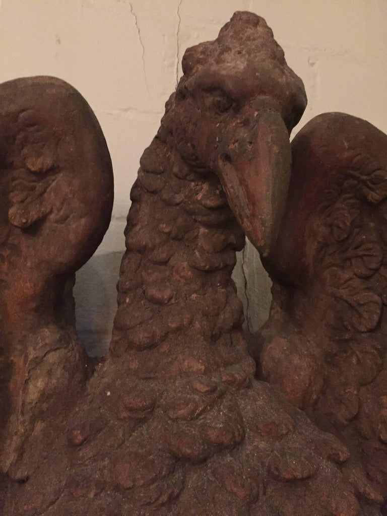 18th Century and Earlier Pair of French 18th Century Terra Cotta Eagle Sculptures For Sale