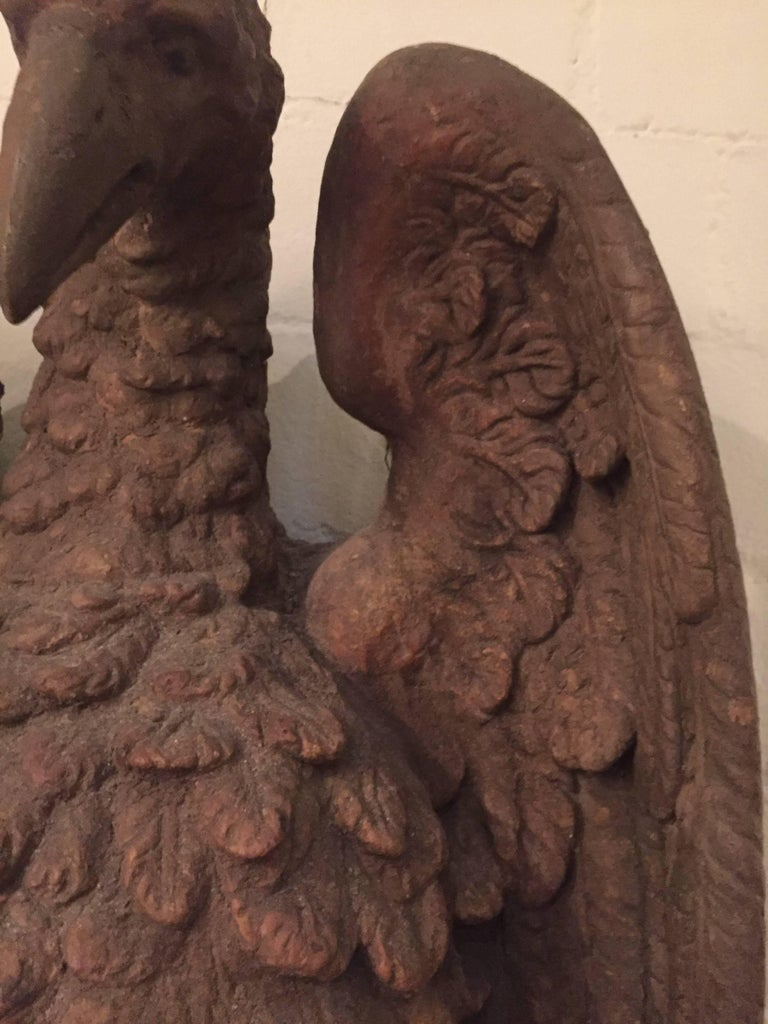 Terracotta Pair of French 18th Century Terra Cotta Eagle Sculptures For Sale
