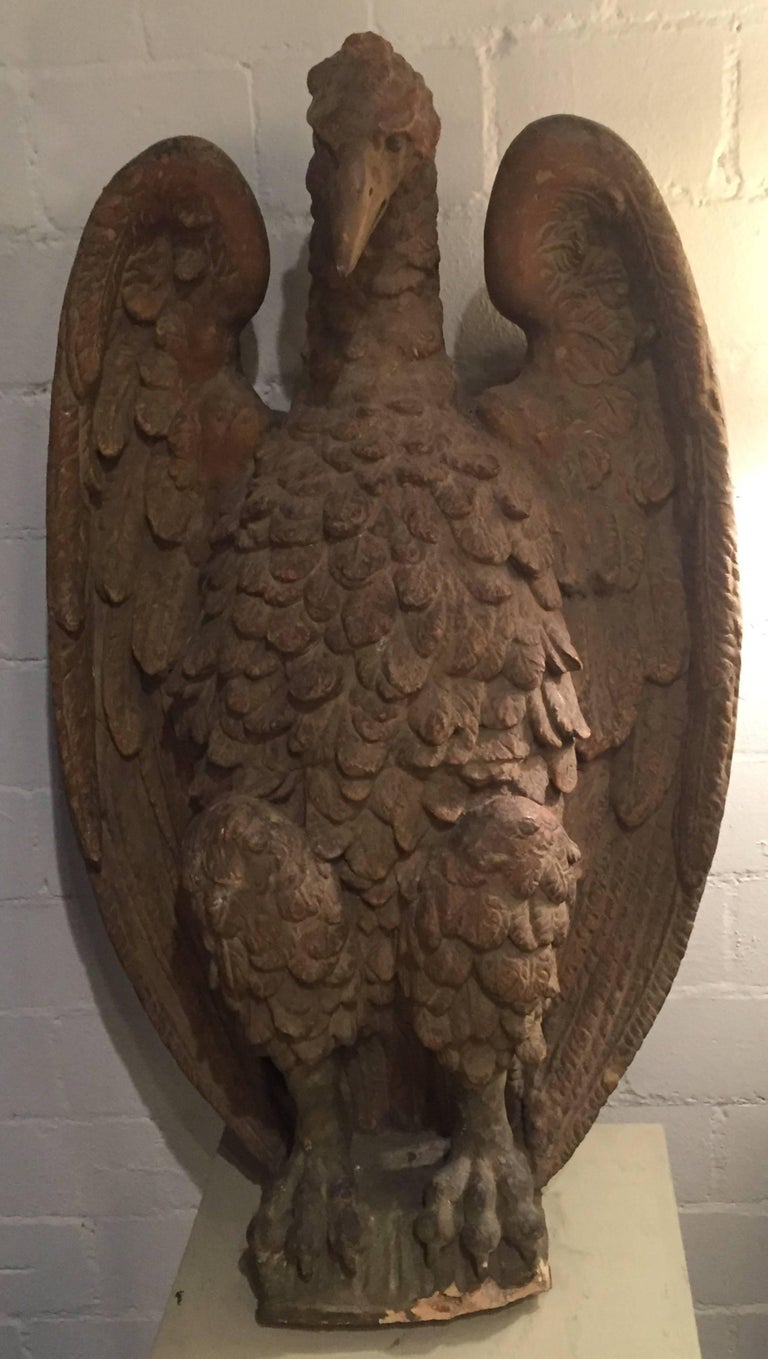 Pair of French 18th Century Terra Cotta Eagle Sculptures For Sale 1
