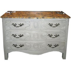 Late 19th Century French Chest with Faux Marble Top