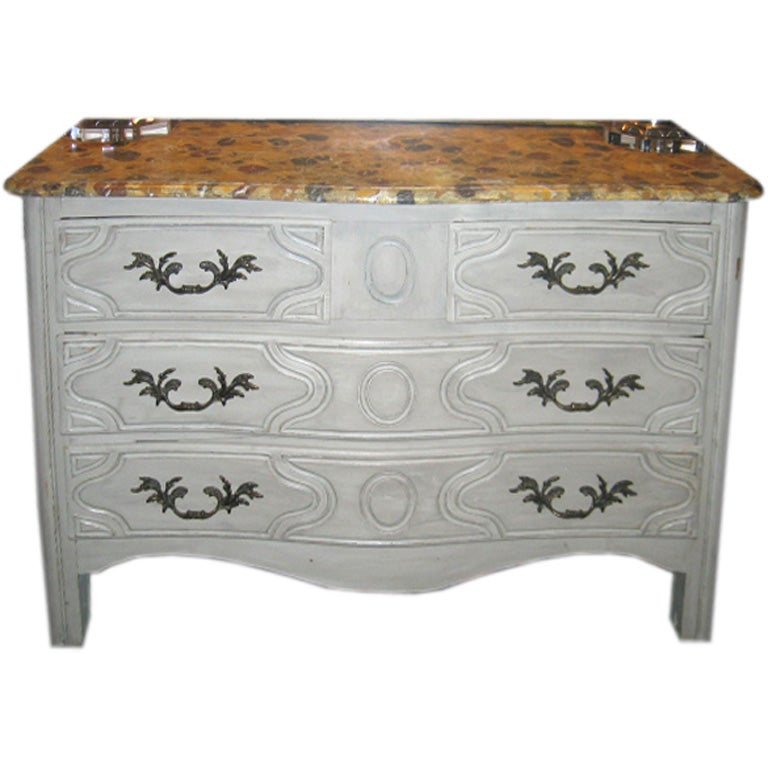 Late 19th Century French Chest with Faux Marble Top For Sale