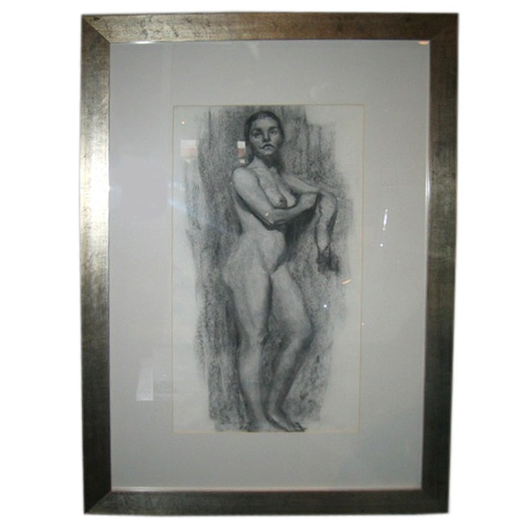1930s Artist's Portfolio Charcoal Drawing of a Standing Nude Female