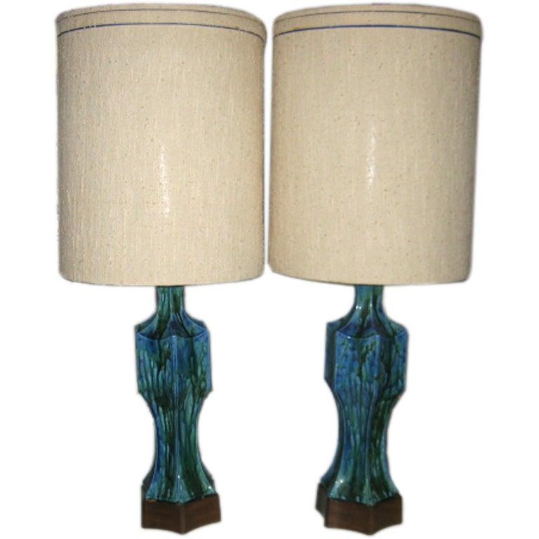 Pair of Midcentury Ceramic Lamps with Original Shades