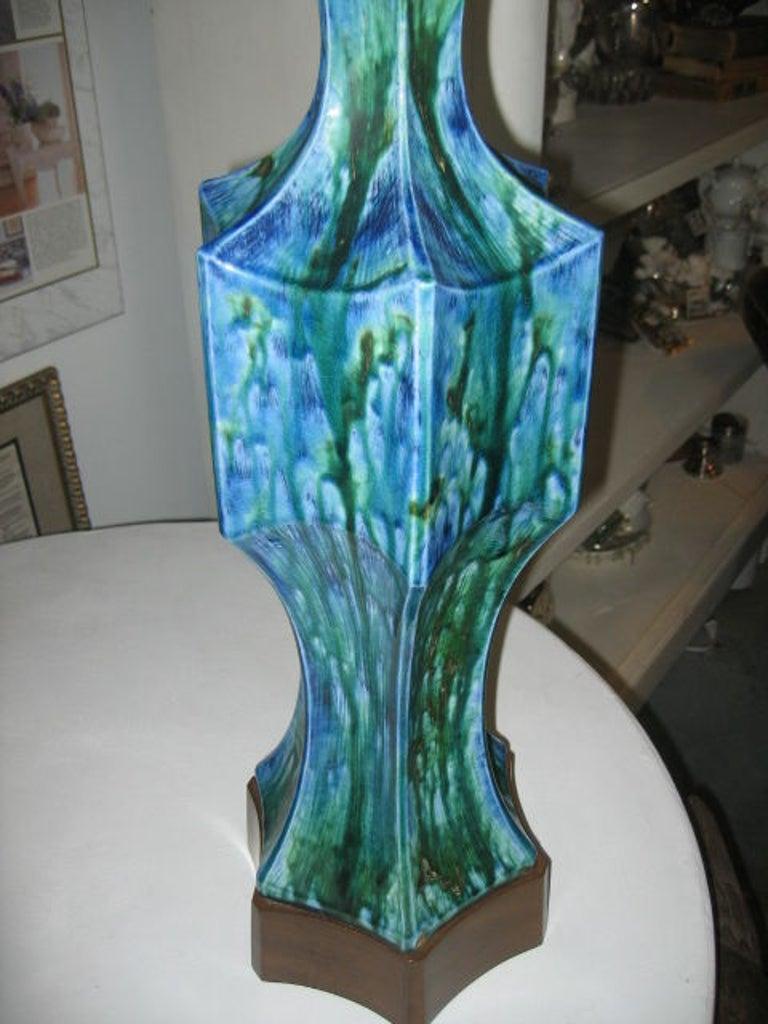 Pair of Midcentury Ceramic Lamps with Original Shades 2