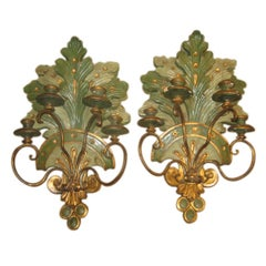 19th Century Italian Wall Sconces in Polychrome and Gilt Finish
