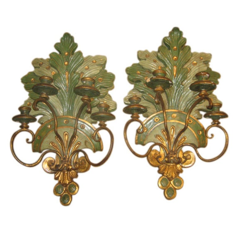 19th Century Italian Wall Sconces in Polychrome and Gilt Finish 1