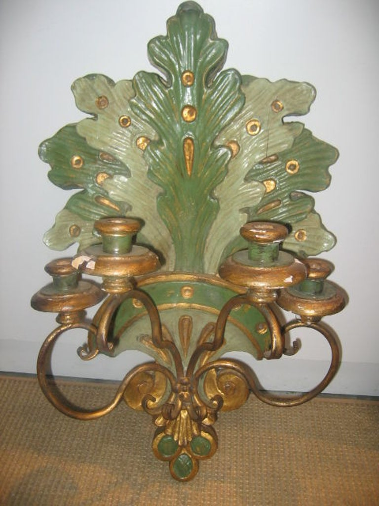 19th Century Italian Wall Sconces in Polychrome and Gilt Finish For Sale 5