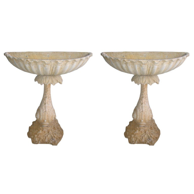 Pair of Concrete Fountain Basins For Sale