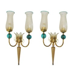 Pair of Murano Glass Sconces by Andre Arbus for Veronese