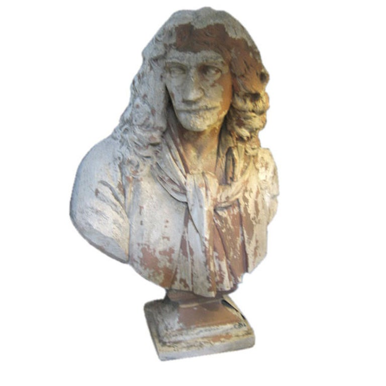 Antique English Plaster Bust of a Poet