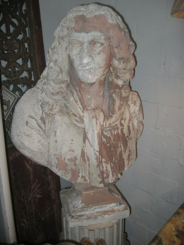 Antique English Plaster Bust of a Poet 2