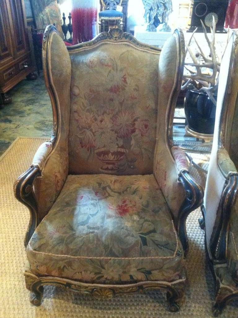 Pair of 19th Century French Wing Chairs In Excellent Condition In Dallas, TX