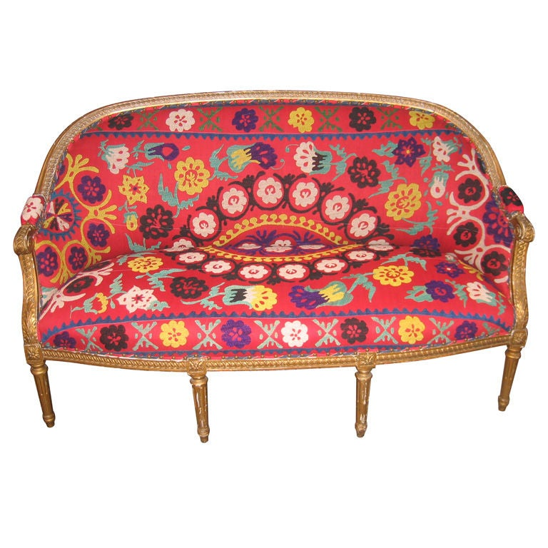 19th Century Gilded Louis XVI Settee in Vintage Suzani Upholstery