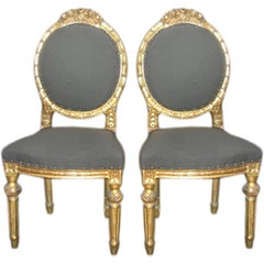 Louis XVI Style Pair of Gilt Side Chairs in 24-Karat Gold Leaf