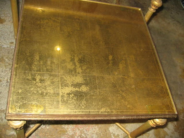 Set of Three French, Gold Mirror Topped Nesting Tables 2