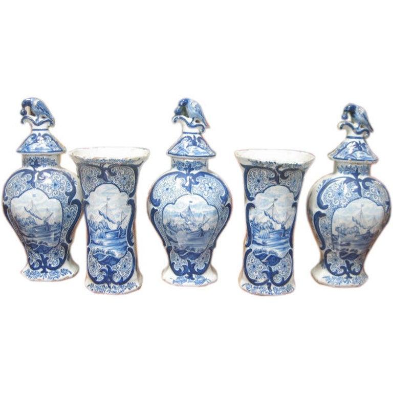 Delft Garniture Set, 18th Century For Sale