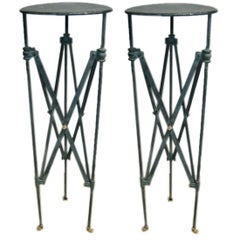 Plant Stands Pair of Verdi-Gris Iron Pompeiian Style