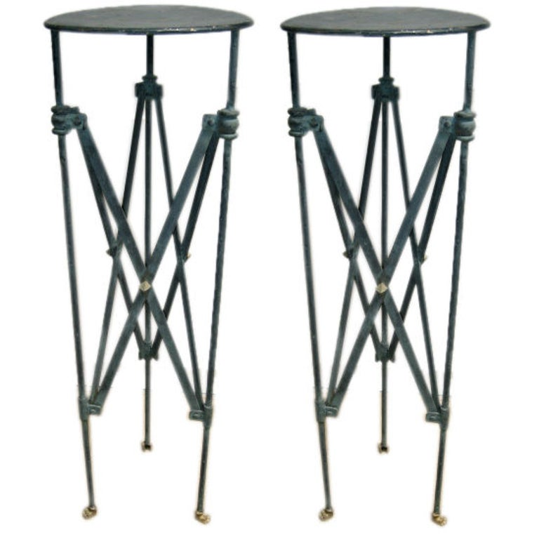 Plant Stands Pair of Verdi-Gris Iron Pompeiian Style For Sale