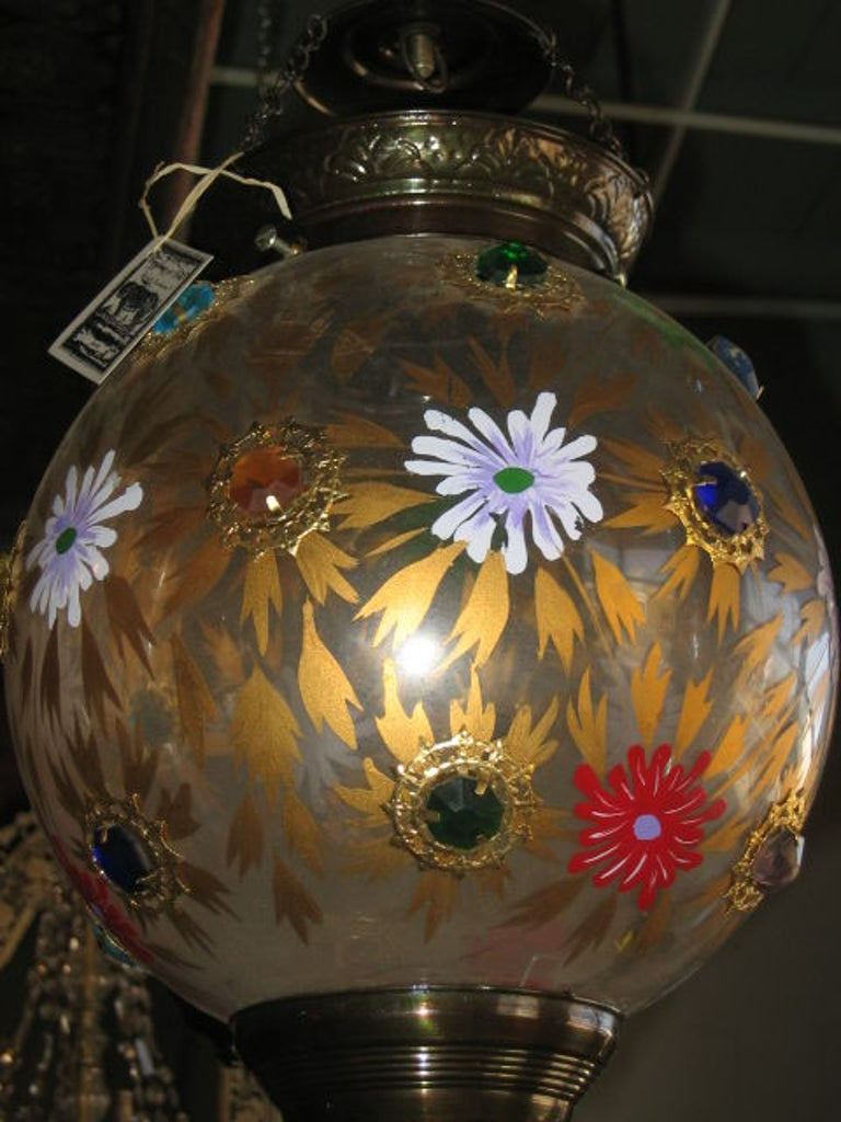 Indian Glass Globe Hanging Lantern of 19th Century In Good Condition For Sale In Dallas, TX