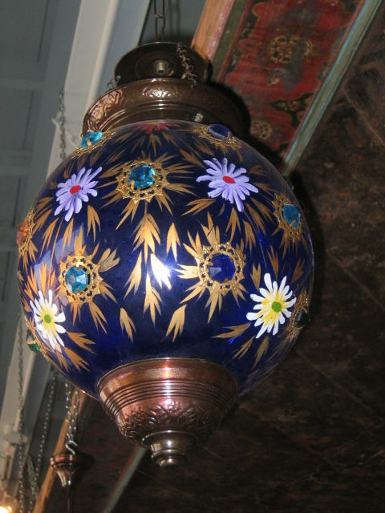 Indian Glass Globe Hanging Lantern of 19th Century For Sale 1