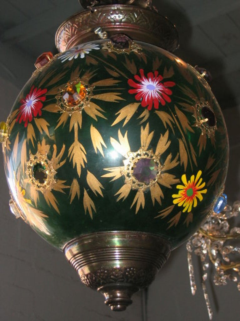 Indian Glass Globe Hanging Lantern of 19th Century For Sale 2