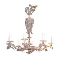 Prince of Wales Feather Design Lucite Chandelier