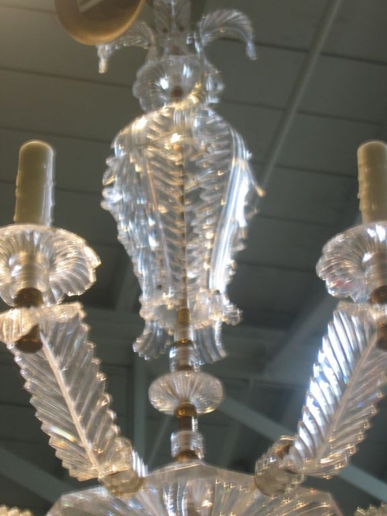 Prince of Wales Feather Design Lucite Chandelier For Sale 1