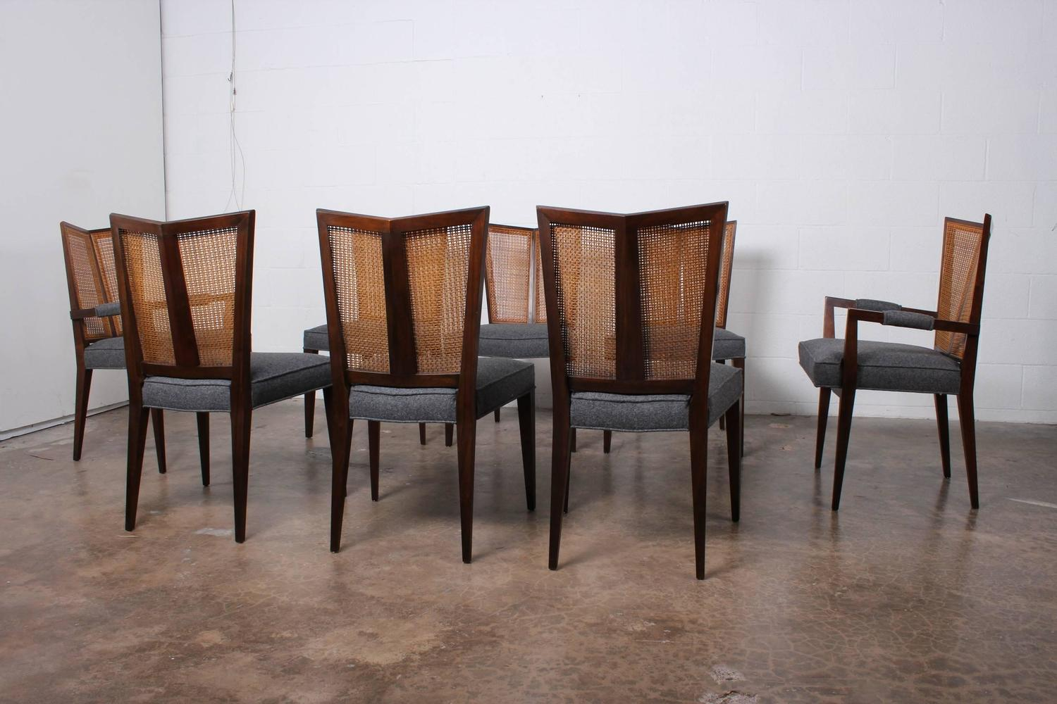 eight v back dining chairs by baker at 1stdibs