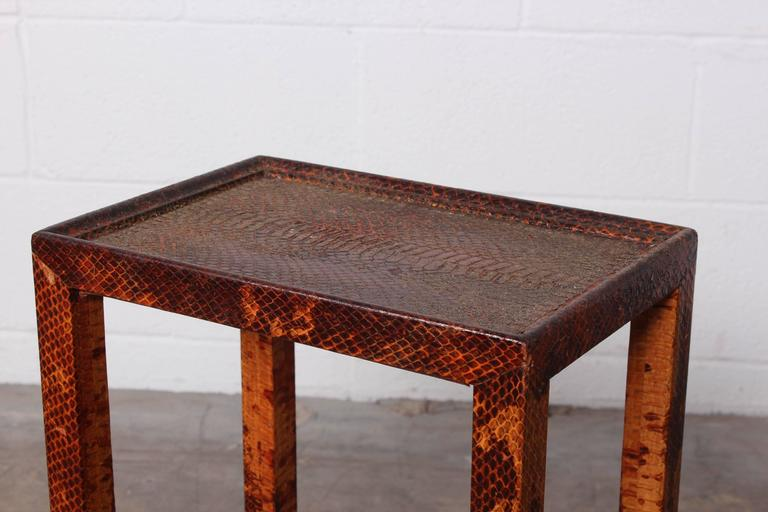 Python covered side table by karl springer at 1stdibs for Table in python
