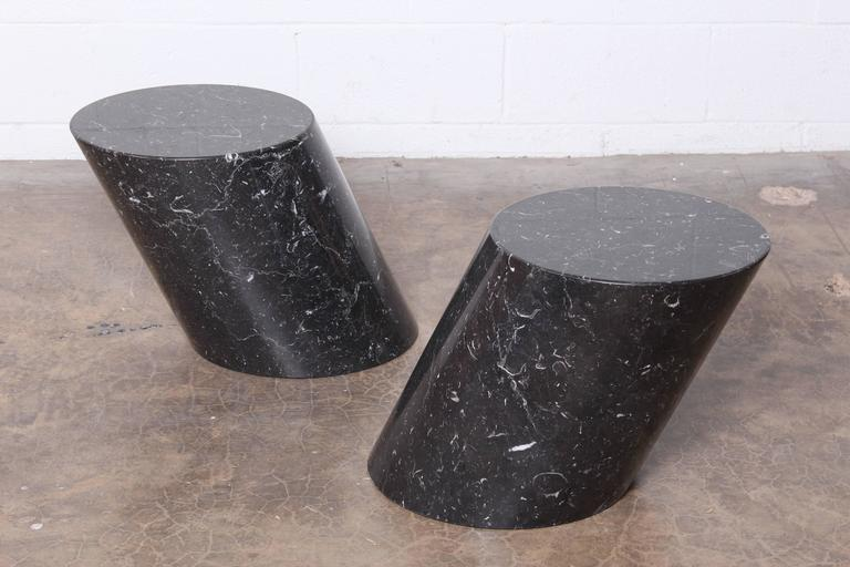 Pair Of Marble Stump Tables By Lucia Mercer For Knoll At